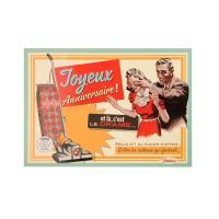 Carte postale Anniversaire Femme aspirateur