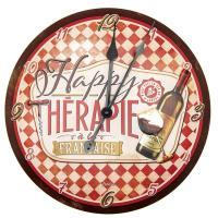 Horloge métal reliéfé Happy thérapie-vin
