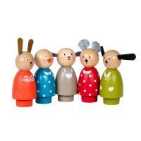 Set de 5 personnages en bois La Grande Famille