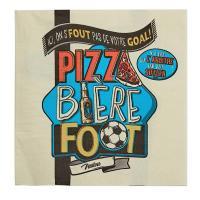 Serviettes en papier Pizza bière foot