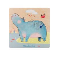 Puzzle encastrable hippopotames Les Papoum