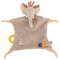 Doudou attache tétine éléphant Les Papoum